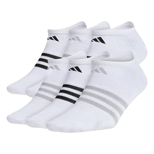 adidas Women's Superlite No Show Socks (6-Pair), White/Clear Onix/Black, Medium, (Shoe Size 5-10)