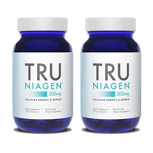 TRU NIAGEN Nicotinamide Riboside Chloride - Patented NAD Precursor for The Reduction of Tiredness and Fatigue, 300mg Vegetarian Capsules, 300mg Per Serving, 90 Day Bottle (2 Pack)