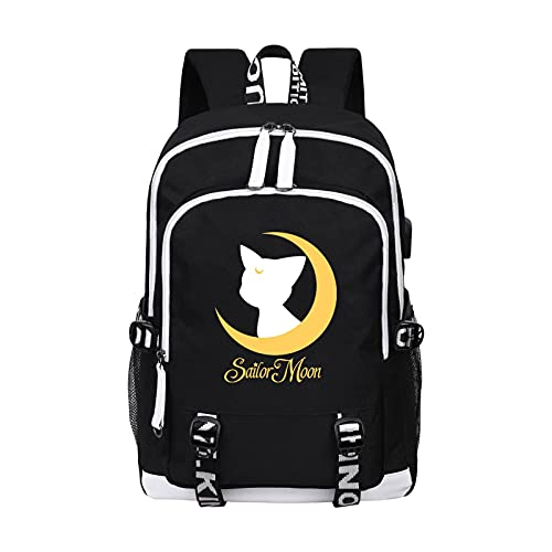 CREPUSCOLO Sailor Moon Backpack Anime Bookbag Luna Graphic School Bag Laptop Daypack with USB Charging Port( Funny Black)