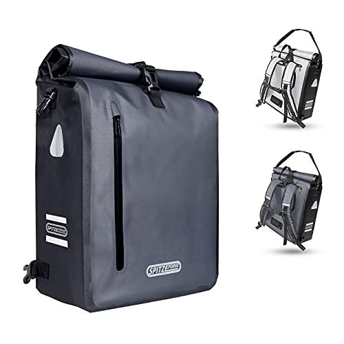 SPITZE FORGE 3in1 Fahrradtasche für Gepäckträger 100{9f5d0ce52c33ad707ef5e1fea607d0e0b78f11be6dbd891c1682e7969192ceec} Wasserdicht & Reflektierend - Rucksack, Gepäckträgertasche, Umhängetasche - Hinterradtasche zum Einkaufen, Arbeit und Fahrradtour PVC-frei