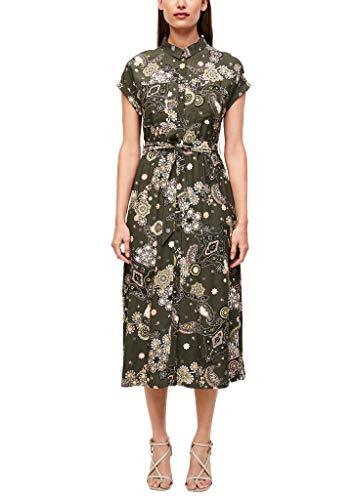 s.Oliver BLACK LABEL Damen Hemdblusenkleid mit Allovermuster Khaki Ornamental Print 48