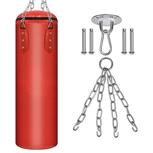 Z&HA Boxsack GEFÜLLT Set Muay Thai Trainingshandschuhe mit Lochhandschuhen Hängende Kette Deckenhaken, Ideal für MMA, Kickboxen, Kampfsport
