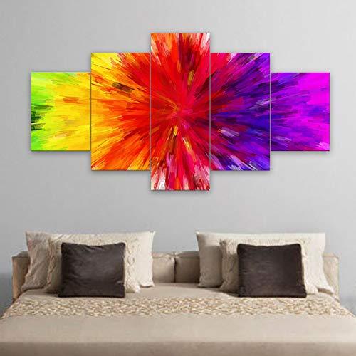 ZXCVWY 5 Piezas Lienzo Abstracto Arco Iris Colorido Pintura Moderna Pared Arte para decoración del hogar Cuadros modulares