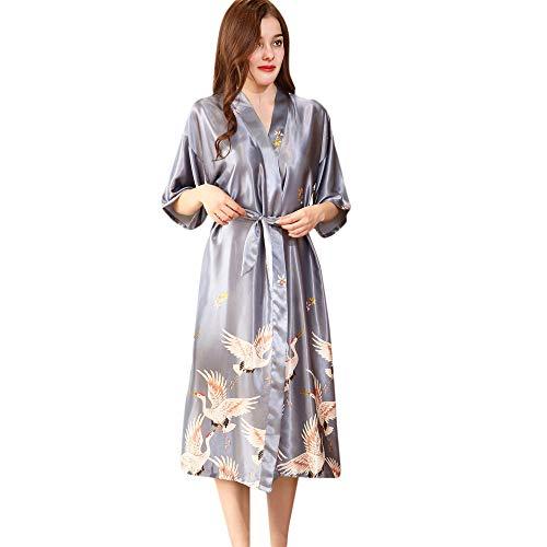 MORCHAN Femmes Sexy en Soie Kimono s'habiller Babydoll Dentelle Lingerie Ceinture Bain Robe de Nuit Soutien-Gorge sous-vêtements Costume du Corps vêtements de Nuit(M,U-Gris)