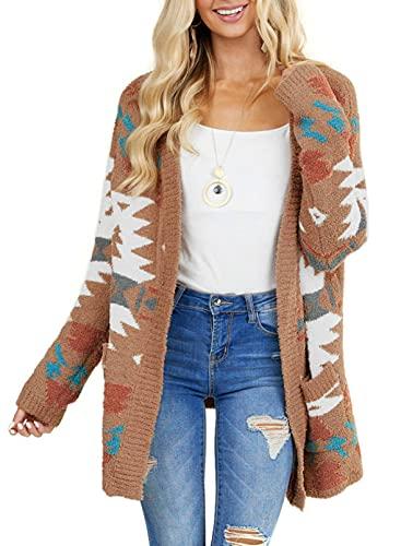 GOSOPIN Women Open Front Pocket Cardigan Sweater Long Sleeve Knit Coat Medium Brown