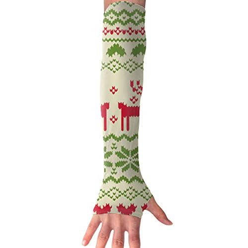 RZM YLY Unisex Nordic Style Christmas Reindeers Arm Sleeves UV Sun Protective Multifunctional Tattoo Arm Gloves Long Sleeve Perfect for Basketball (1 Pair)