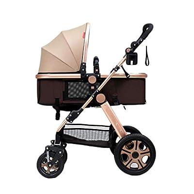 WLD Cochecito 3-en-1 Sleepable Horizontal Plegable De dos vías Cuatro ruedas Amortiguador Recién nacido Four Seasons Universal Baby Carriage,Caqui