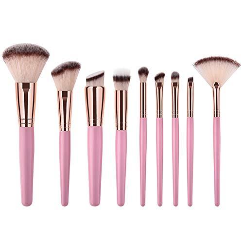 WeiMay Juego de 9 pinceles de maquillaje, para polvo, base, colorete, sombra de ojos, color rosa, tamaño: 18 x 15 x 2 cm