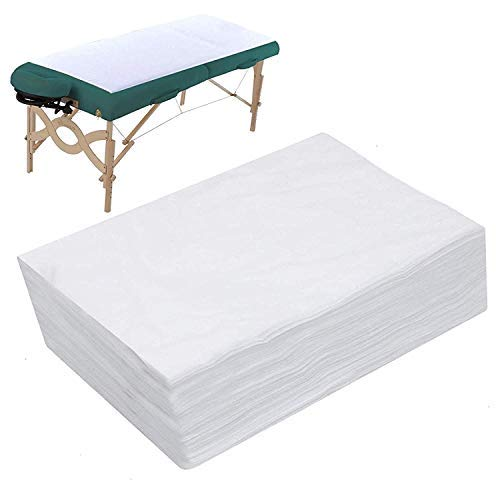 Disposable Bed Sheets Massage Sheets Covers Massage Table Sheet Fabric Bed Cover Beauty Salon Hotels Spa Bed Sheets Bed Pads Underpads Massage Table Paper for Massage Facial Waxing 10PCS (White)
