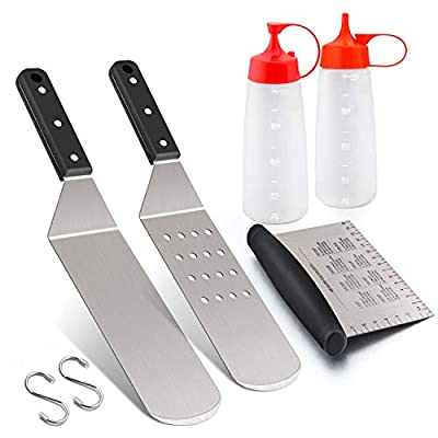 Leonyo Griddle Accessories Set of 5, Stainless Steel Flat Top Hibachi Teppanyaki Grill Tool Set- Metal Spatula for Cast Iron Kitchen Cooking, Riveted Grip, Dishwasher Safe, S Hooks, Indoor Outdoor
