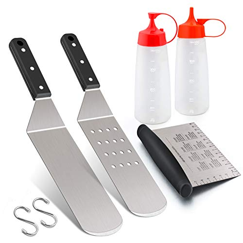 Griddle Accessories Set, Leonyo Stainless Steel Grill Griddle Tool Set- Metal Spatula for Flat Top Hibachi Teppanyaki Kitchen Cooking, Riveted Grip, Dishwasher Safe, S Hooks, Indoor Outdoor
