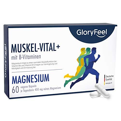 Magnesium Muskel-Vital+ - 400mg elementares Magnesium je Tagesdosis - Trägt zur normalen Funktion von Muskeln und Knochen bei* - 60 vegane Kapseln - Laborgeprüft hergestellt in Deutschland