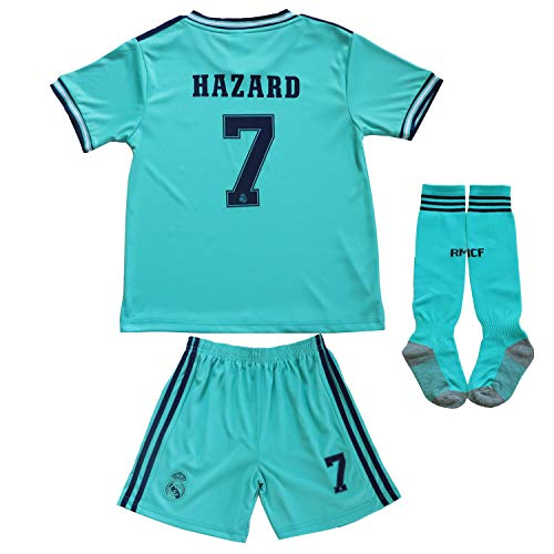 SecenMerch 2019/2020 New Hazard No #7 Real Madrid Third Green Blue Kids Soccer Jersey Kit Shorts Socks Set Youth Sizes (Third, 8-9 Years Old)