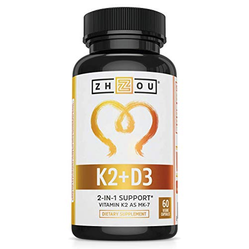 Zhou Vitamin K2 (MK7) with D3 | Bone and Heart Health Formula | Immune Support | 60 Vegetable Capsules
