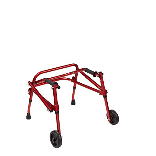 Klip Lightweight Posterior Rollator Walker/Gait Trainer, 2 Wheel with Crutch Tips - Toddlers, Kids, Teens with Special Needs, Cerebral Palsy - Durable, Height Adjustable, Foldable Design- Red, (XS)