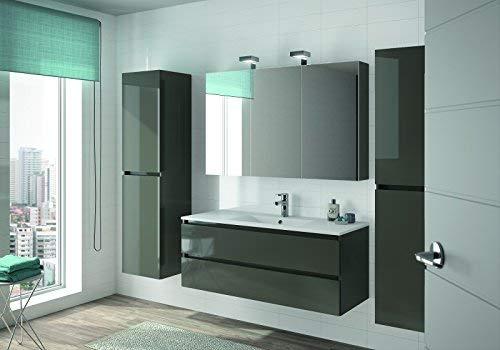 ALLIBERT Badmöbel-Set Badmöbel vormontiert Softclose-Funktion grau Glanz Spiegel Waschtisch 120 cm
