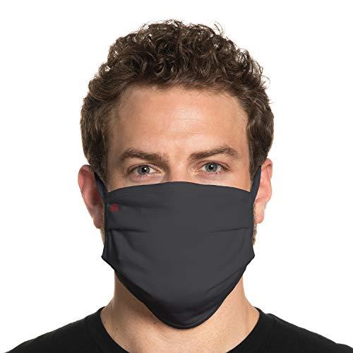 Secret Artist Reversible Unisex Cloth Face Mask- Washable and Reusable. (Fits: X-Large to 2X-Large Face, Maverick-Charcoal/Blk-XL/2XL-SA458)