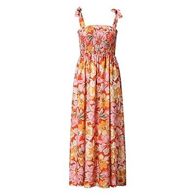 Muranba Womens Dresses Sexy Sleeveless Floral Print V Neck Split Ruffle Boho Beach Long Dress