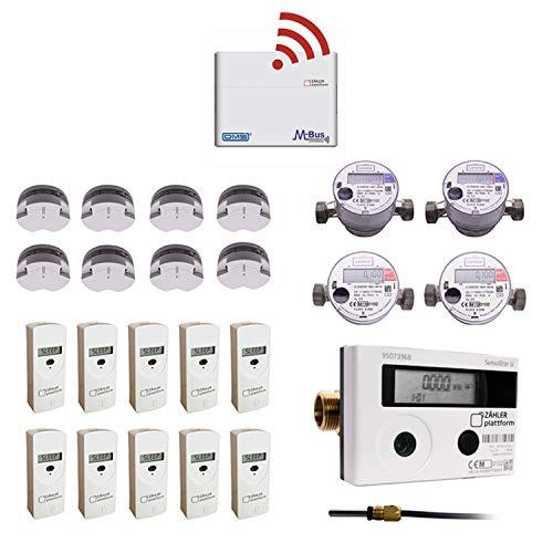 Zähler Plattform OMS Funk Set mit 10 x Heizkostenverteiler 4x Wasserzähler 8x Rauchwarnmelder 1x Wärmezähler und 1 x Gateway Start in die Selbstabrechnung