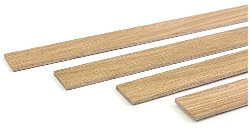wodewa Holzleiste Wandleiste Eiche Strukturiert Geölt 1m Abschlussleiste Holz 30x4mm Zierleiste für Wandverkleidung Decke Boden Abdeckleiste DIY Basteln