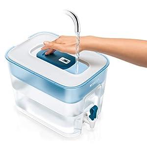 BRITA Wasserfilter-Station Flow inkl. 1 MAXTRA+ Filterkartusche – XXL Tischwasserfilter mit Zapfhahn reduziert Kalk, Chlor und leitungsbedingt vorkommende Metalle wie Kupfer & Blei im Leitungswasser