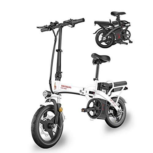 Electric Bike Smart Mountain Bike for Adults Folding E Bikes E-Bike 48V10Ah Lithium-Ion Batter 3 Riding Modes 400W Max Speed 25km/h (Color : White, Size : Range of 50 km)