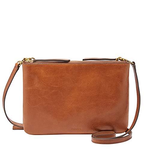 Fossil Women's Devon Leather Crossbody Handbag, Brown