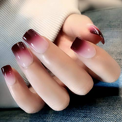 Sethexy Glossy False Nails Chic Gradient Medium Full Cover Acrylic 24Pcs Fake Nails for Women and Girls