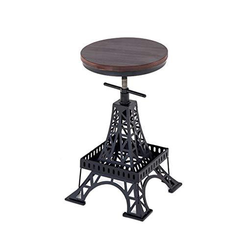 AI XIN Vintage industrielle Runde Dining Side Chair, höhenverstellbare Schmiedeeisen Holz Barhocker Paris Tower Hocker, kreative Ergonomie Cafe Barhocker Metallhalterung (Color : Chair)