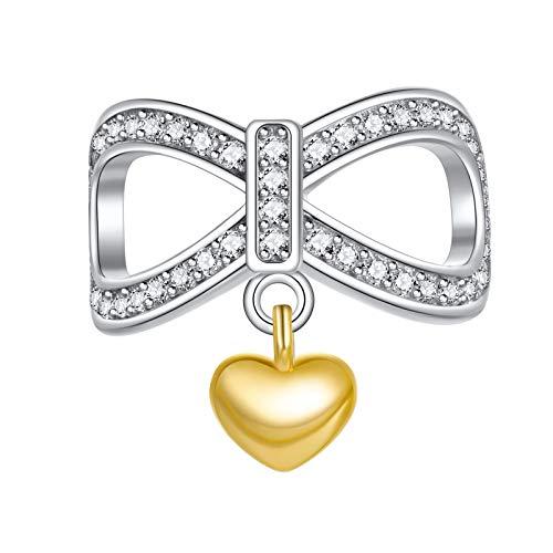 Abalorio de Ningan de corazón de oro de plata de ley 925, compatible con y otras pulseras y collares europeos
