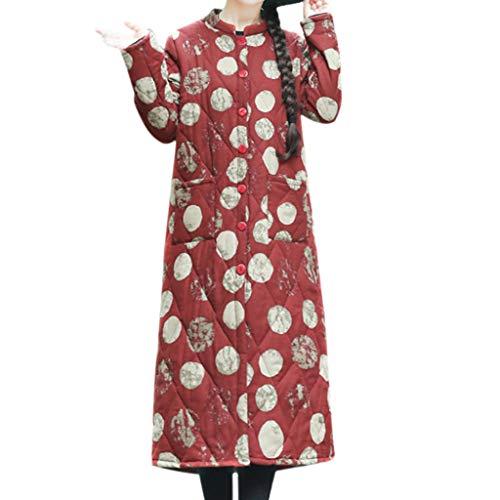 FRAUIT gebreide jas dames Folk-Custom katoen Linnen Dot Print knopen zakken Lange Cardigan mantel Parka Outwear Losse zacht comfortabele outwear retro Coat M-4XL