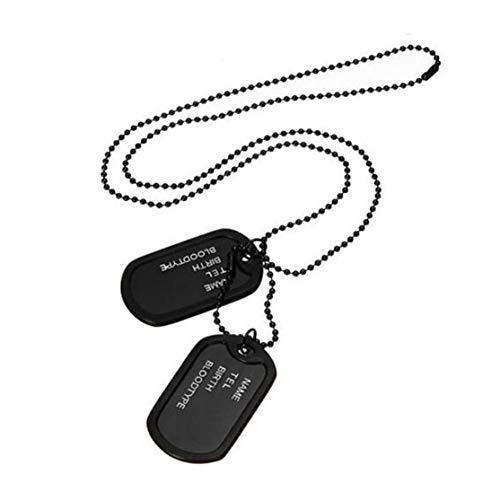 Candyboom Hombres Negro ejército Militar 2 Etiquetas de Perro Cadena Colgante Collar N045