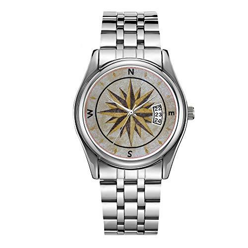 Reloj de lujo de los hombres 30m impermeable fecha reloj masculino deportes relojes hombres cuarzo casual navidad reloj brújula dirección diseño punto piso mesa superior Mar relojes de pulsera