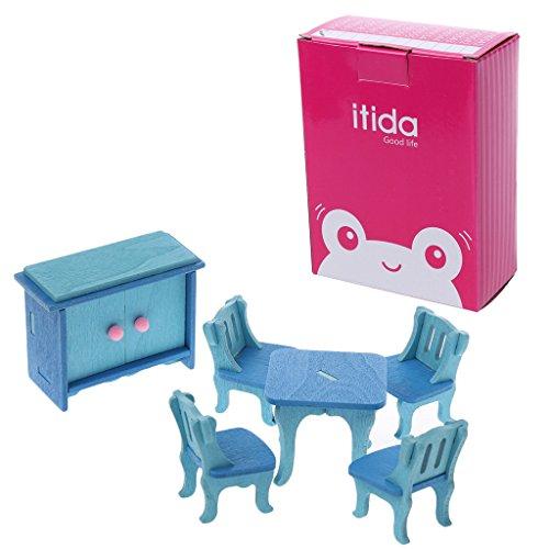 Youliy Muebles de madera casa de muñecas, juguete intelectual para niños
