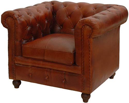 korb.outlet Chesterfield Ledersessel Echtleder Polstersessel Leder Wohnzimmer Sessel Antik Vintage...