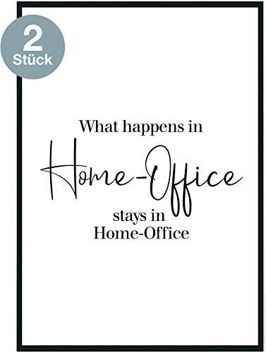 moebeldeal Poster 2er Set Bild DIN A4 - Plakat Spruch lustiges Home-Office Geschenk Sprüche Typografie schwarz weiß Küche Wohnzimmer Deko - ohne Rahmen - Geschenk