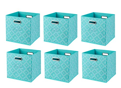 Ornavo Home Foldable Storage Bins Basket Cube Organizer with Dual Handles and Window Pocket - 6 Pack - 12 L x 12 W x 12 H - Moroccan Lattice Teal
