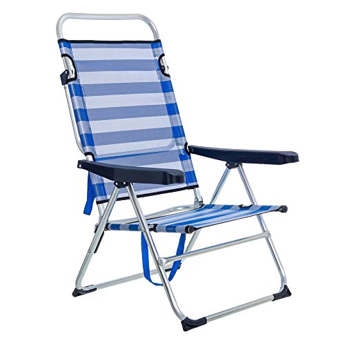 LOLAhome Sillón de Playa Plegable Azul Marino de Aluminio de 61x66x110 cm