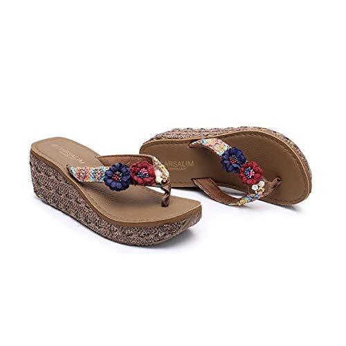 Wide Fit Wedge Sandals for Women, Memory Foam Flip Flops Bohemian Toe Post Flip Flops Summer Beach Comfy Casual ShoesDark Brown Red Blue Flower-39