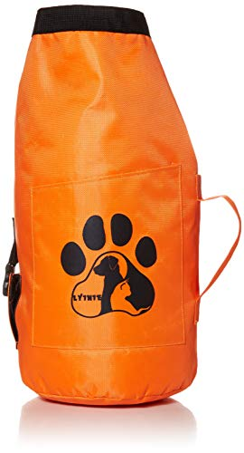 LYINIE Dog Food Travel Bag, Portable Folding Travel Food Storage Container for Cat & Dog,Kibble Carrier,Dog Travel Accessories for Camping - Holds 10lbs(Orange)