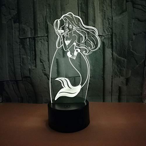 3D noche lámparas de mesa para sala de estar sirena colorido escritorio lámpara táctil USB alimentado acrílico 3D hogar Iluminación