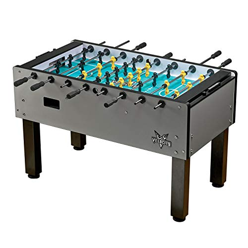 Amazing Deal HJ Scott Professional Foosball Table Velocity Indoor Pro Free-Standing Wood Table, Silv...
