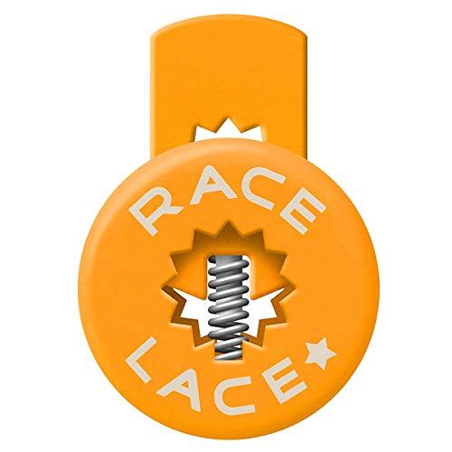 No Label Race Lace - Elastische Sport Schnürsenkel Mit Schnellverschluss + Schnellschnürsystem | Komfort, Halt + Zeit Sparen mit Profischnürsenkel für Sportschuhe | Ideal Für Kinder & Erwachsene 3 x Orange