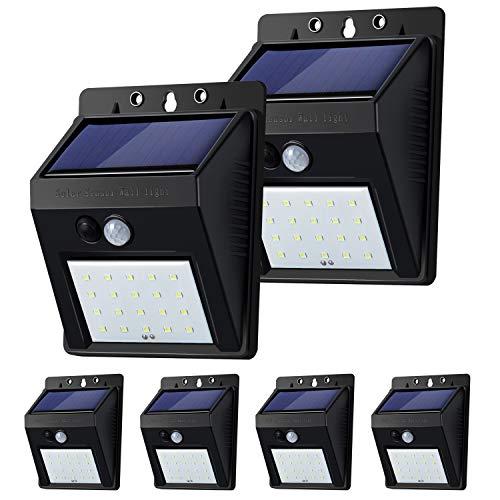 6 Pack Solar Light Outdoor, 20 LED Solar Motion Sensor Lights Baiston Solar Wall Lights Wireless IP65 Waterproof Outdoor Christmas Lights Solar Security Lights for Garden Fence Patio Garage