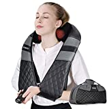 Shiatsu Neck Back Massager with Heat, Deep Tissue Kneading Massage Pillow/Shoulder Massager for Legs, Foot, Waist, Abdomen, Body Pain Relief - Electric Full Body Massager for Home, Office and Car