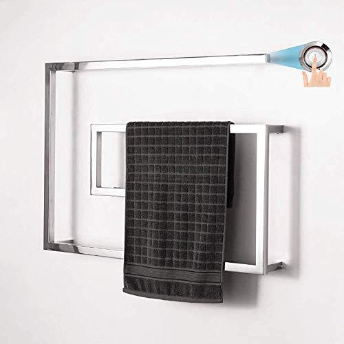 Verwarmde handdoekradiator voor Badkamers Wall Mounted, Elektrische Handdoek Warmer met LED Schakelaar voor Badkamer, 800 * 600mm, Polijsten,Plugin