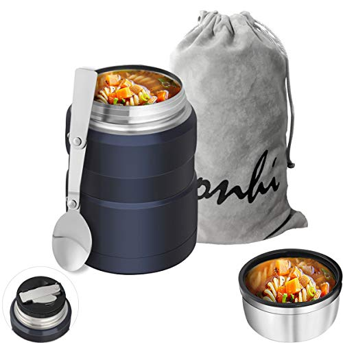 Yonhi Stainless Steel Food Thermos with Lid, Kids Lunch Thermos Hot Food,Iinsulated Lunch Jar Hot Food 16 Ounce (Blue)