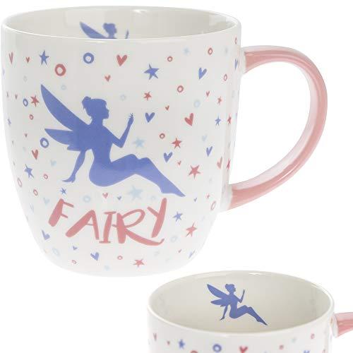 Taza de porcelana fina, diseño de hadas, color rosa