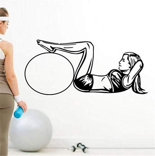 Hbbhbb Sit-Ups Gym Autocollant Fitness Fille Decal Body-Building Posters Stickers Muraux En Vinyle Décor Mural Sticker Gym 117X58Cm