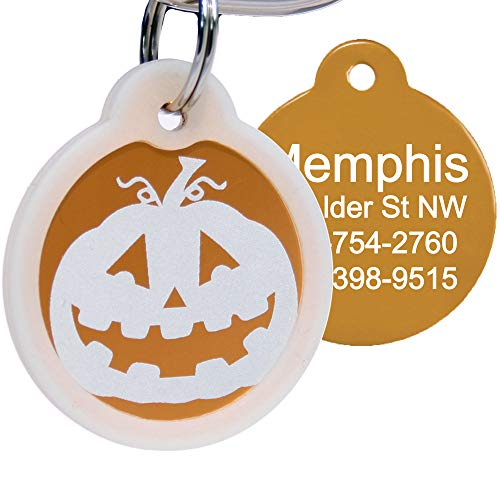 GoTags Halloween Dog Tag, Personalized Pet ID Tag with 4 Lines of Custom Engraved Text, Holiday Dog Collar ID Tag Comes with Glow in The Dark Silencer to Protect Tag and Engraving